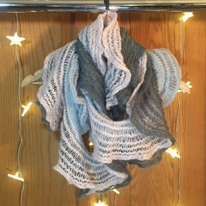Beautiful Pink and Grey Knit Scarf Infinity Wrap
